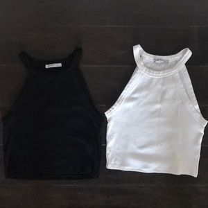 Zara Set of Two White and Black Crop Top